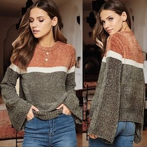 Infinity Raine Bell Sleeve Colorblock Sweater
